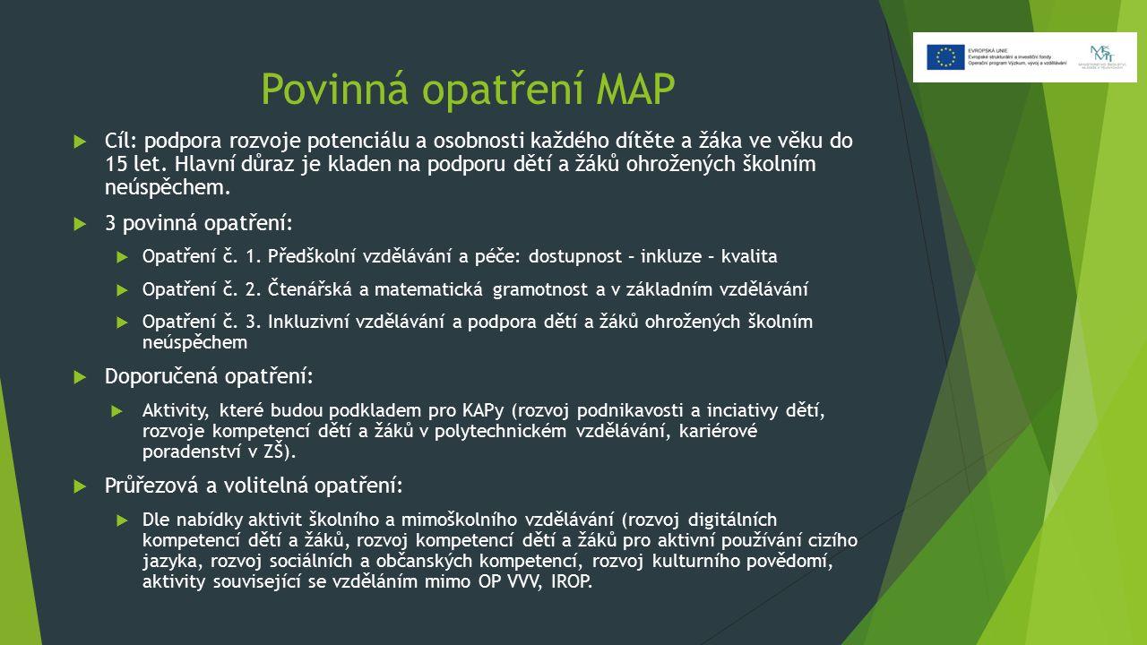 Povinná opatření MAP  Cíl: podpora rozvoje potenciálu a osobnosti každého dítěte a žáka ve věku do 15 let. Hlavní důraz je kladen na podporu dětí a ž