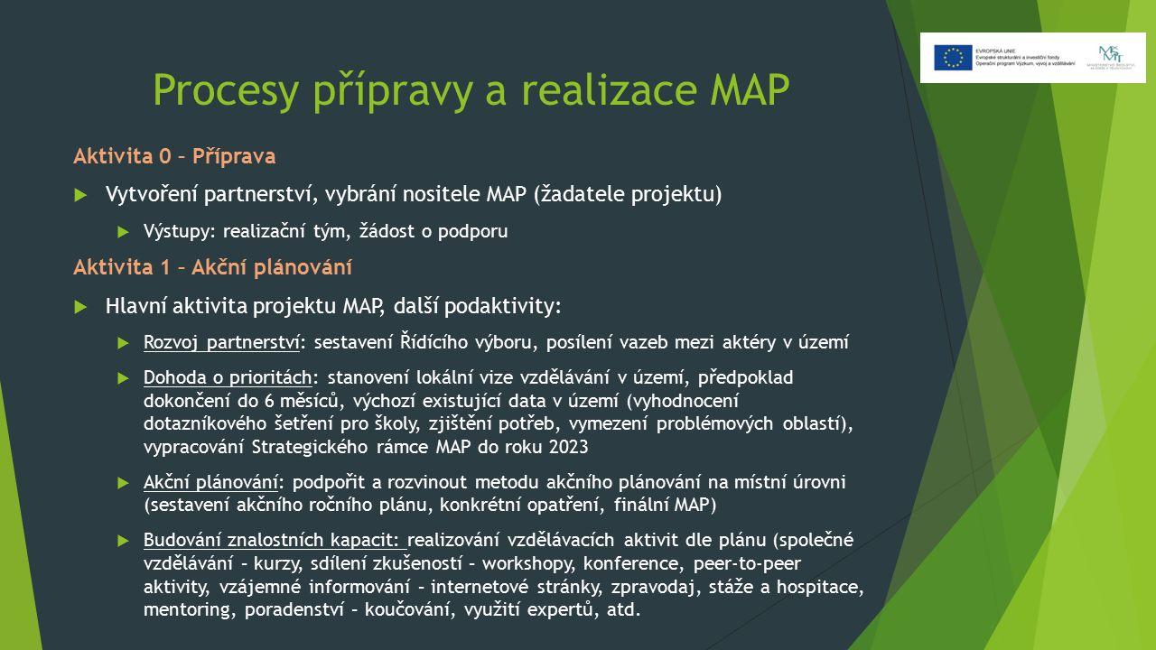 Procesy přípravy a realizace MAP Aktivita 0 – Příprava  Vytvoření partnerství, vybrání nositele MAP (žadatele projektu)  Výstupy: realizační tým, žá