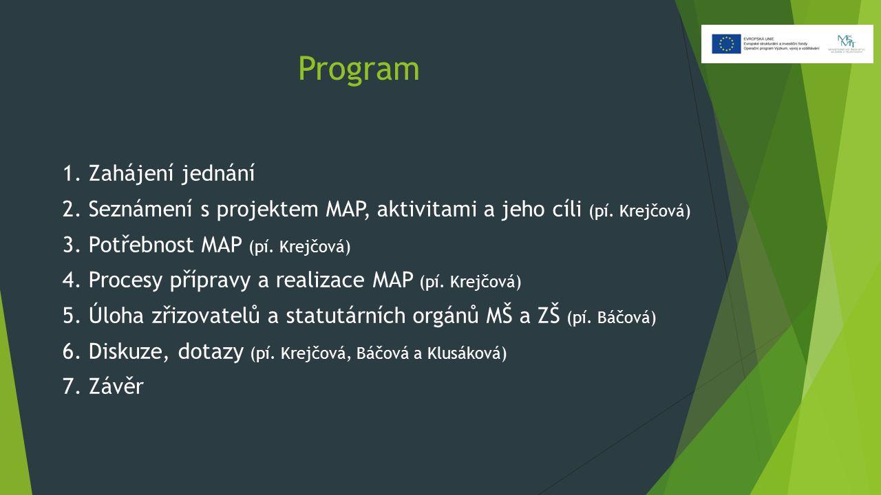 Program 1. Zahájení jednání 2. Seznámení s projektem MAP, aktivitami a jeho cíli (pí. Krejčová) 3. Potřebnost MAP (pí. Krejčová) 4. Procesy přípravy a