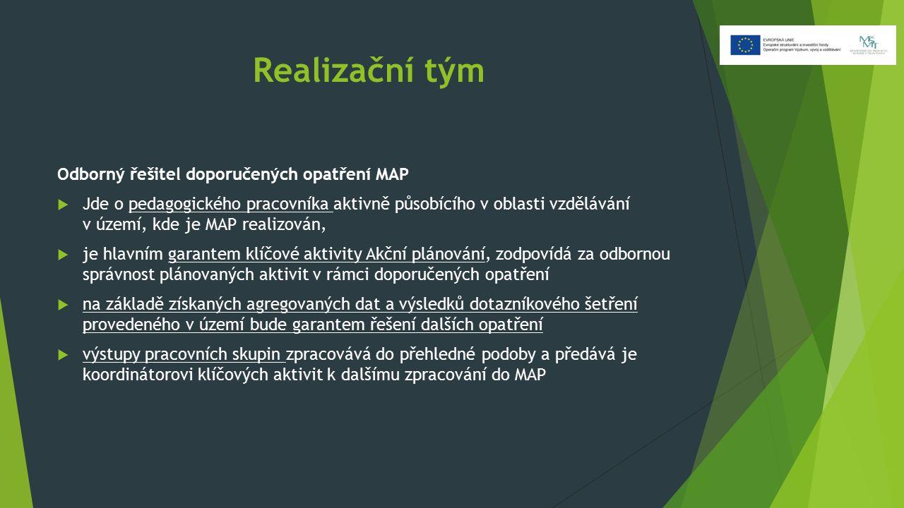 Realizační tým Odborný řešitel doporučených opatření MAP  Jde o pedagogického pracovníka aktivně působícího v oblasti vzdělávání v území, kde je MAP realizován,  je hlavním garantem klíčové aktivity Akční plánování, zodpovídá za odbornou správnost plánovaných aktivit v rámci doporučených opatření  na základě získaných agregovaných dat a výsledků dotazníkového šetření provedeného v území bude garantem řešení dalších opatření  výstupy pracovních skupin zpracovává do přehledné podoby a předává je koordinátorovi klíčových aktivit k dalšímu zpracování do MAP