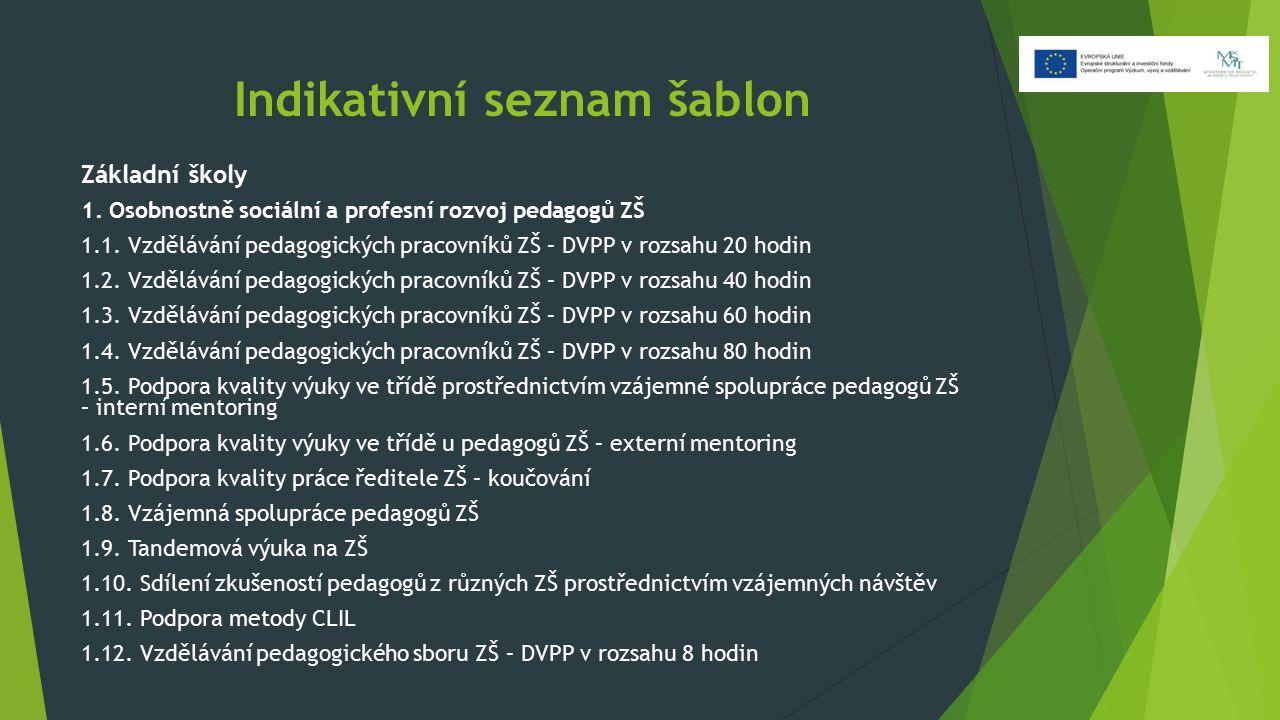 Indikativní seznam šablon Základní školy 1. Osobnostně sociální a profesní rozvoj pedagogů ZŠ 1.1.