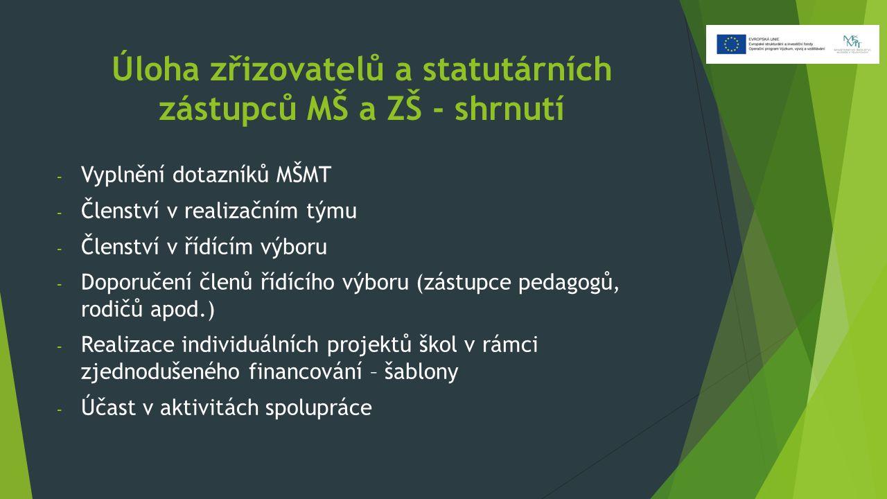 Úloha zřizovatelů a statutárních zástupců MŠ a ZŠ - shrnutí - Vyplnění dotazníků MŠMT - Členství v realizačním týmu - Členství v řídícím výboru - Dopo