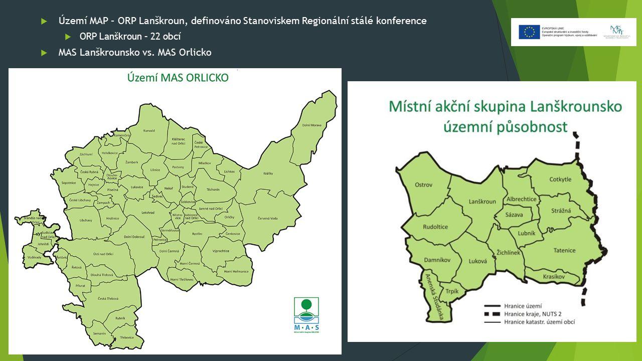  Území MAP – ORP Lanškroun, definováno Stanoviskem Regionální stálé konference  ORP Lanškroun – 22 obcí  MAS Lanškrounsko vs. MAS Orlicko