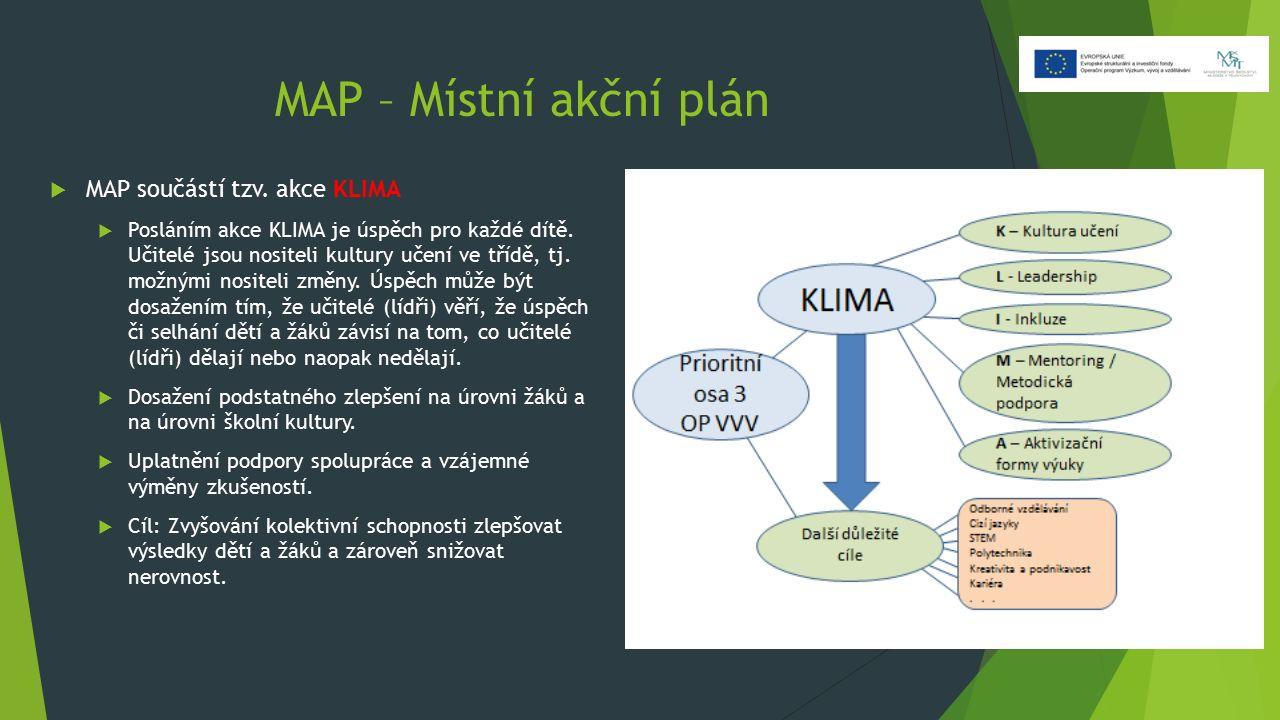 MAP – Místní akční plán  MAP součástí tzv. akce KLIMA  Posláním akce KLIMA je úspěch pro každé dítě. Učitelé jsou nositeli kultury učení ve třídě, t