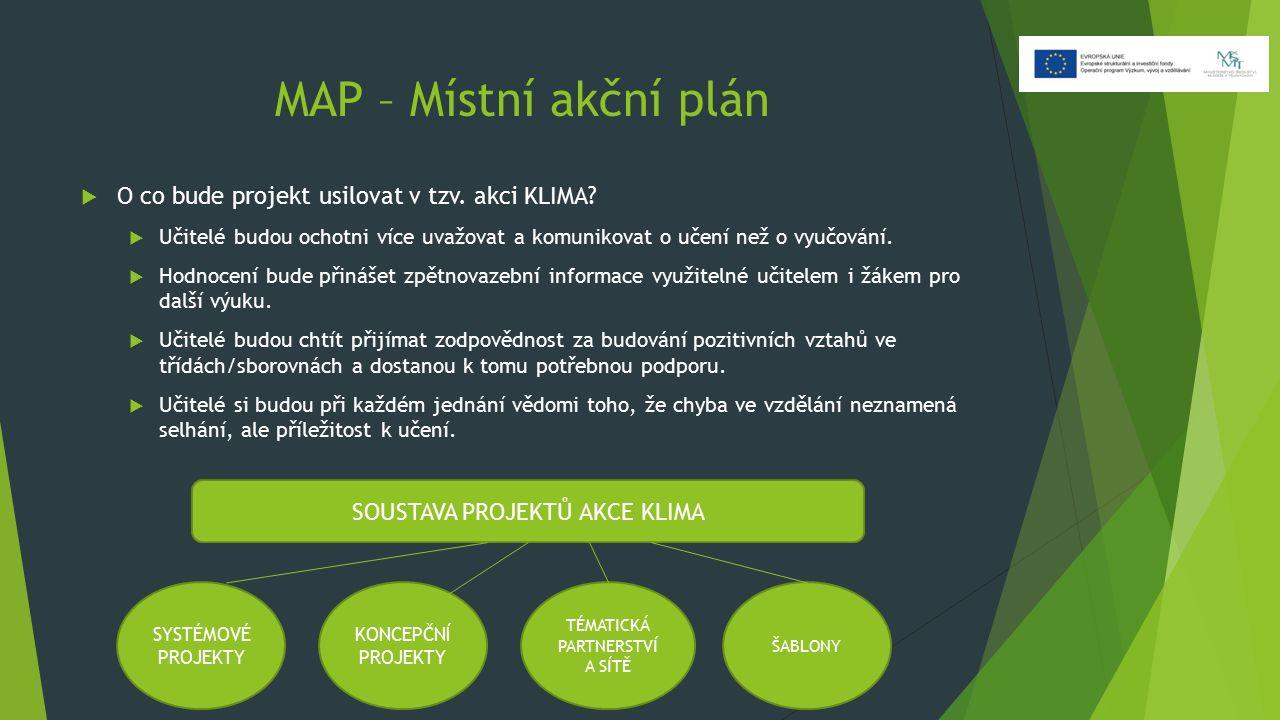 MAP – Místní akční plán  O co bude projekt usilovat v tzv. akci KLIMA?  Učitelé budou ochotni více uvažovat a komunikovat o učení než o vyučování. 