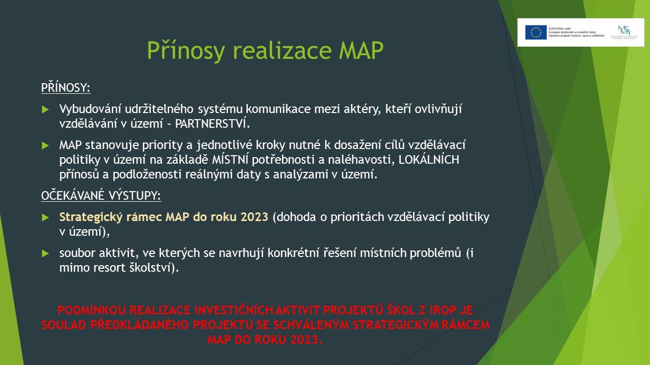 Přínosy realizace MAP PŘÍNOSY:  Vybudování udržitelného systému komunikace mezi aktéry, kteří ovlivňují vzdělávání v území – PARTNERSTVÍ.  MAP stano