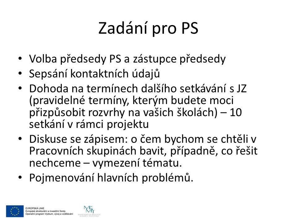Zadání pro PS Volba předsedy PS a zástupce předsedy Sepsání kontaktních údajů Dohoda na termínech dalšího setkávání s JZ (pravidelné termíny, kterým b