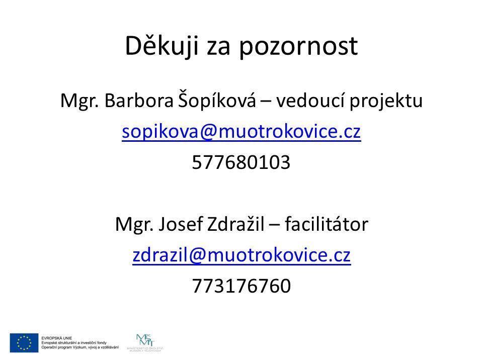 Děkuji za pozornost Mgr. Barbora Šopíková – vedoucí projektu sopikova@muotrokovice.cz 577680103 Mgr. Josef Zdražil – facilitátor zdrazil@muotrokovice.