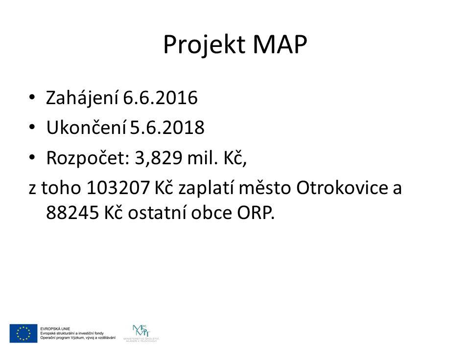 Projekt MAP Zahájení 6.6.2016 Ukončení 5.6.2018 Rozpočet: 3,829 mil. Kč, z toho 103207 Kč zaplatí město Otrokovice a 88245 Kč ostatní obce ORP.