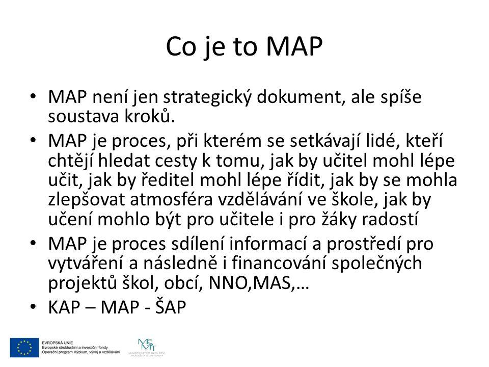 Co je to MAP MAP není jen strategický dokument, ale spíše soustava kroků. MAP je proces, při kterém se setkávají lidé, kteří chtějí hledat cesty k tom
