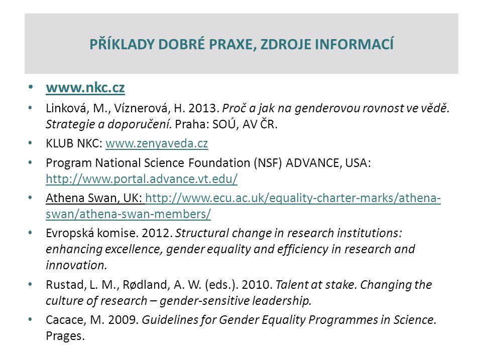www.nkc.cz Linková, M., Víznerová, H. 2013. Proč a jak na genderovou rovnost ve vědě.