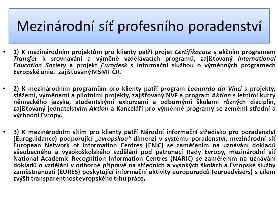 Mezinárodní síť profesního poradenství 1) K mezinárodním projektům pro klienty patří projet Certifikacate s akčním programem Transfer k srovnávání a výměně vzdělávacích programů, zajišťovaný International Education Society a projekt Eurodesk s informační službou o výměnných programech Evropské unie, zajišťovaný MŠMT ČR.
