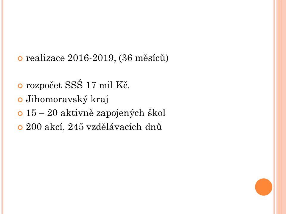 realizace 2016-2019, (36 měsíců) rozpočet SSŠ 17 mil Kč.