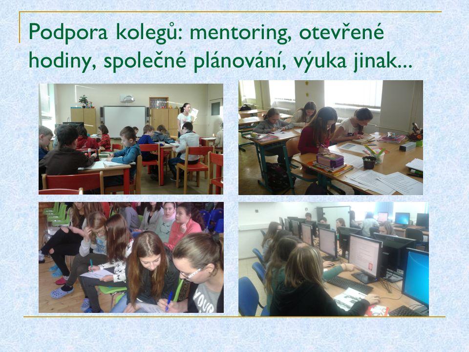 Podpora kolegů: mentoring, otevřené hodiny, společné plánování, výuka jinak...