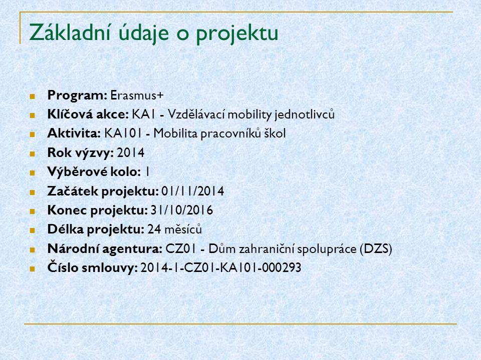 Základní údaje o projektu Program: Erasmus+ Klíčová akce: KA1 - Vzdělávací mobility jednotlivců Aktivita: KA101 - Mobilita pracovníků škol Rok výzvy: 2014 Výběrové kolo: 1 Začátek projektu: 01/11/2014 Konec projektu: 31/10/2016 Délka projektu: 24 měsíců Národní agentura: CZ01 - Dům zahraniční spolupráce (DZS) Číslo smlouvy: 2014-1-CZ01-KA101-000293