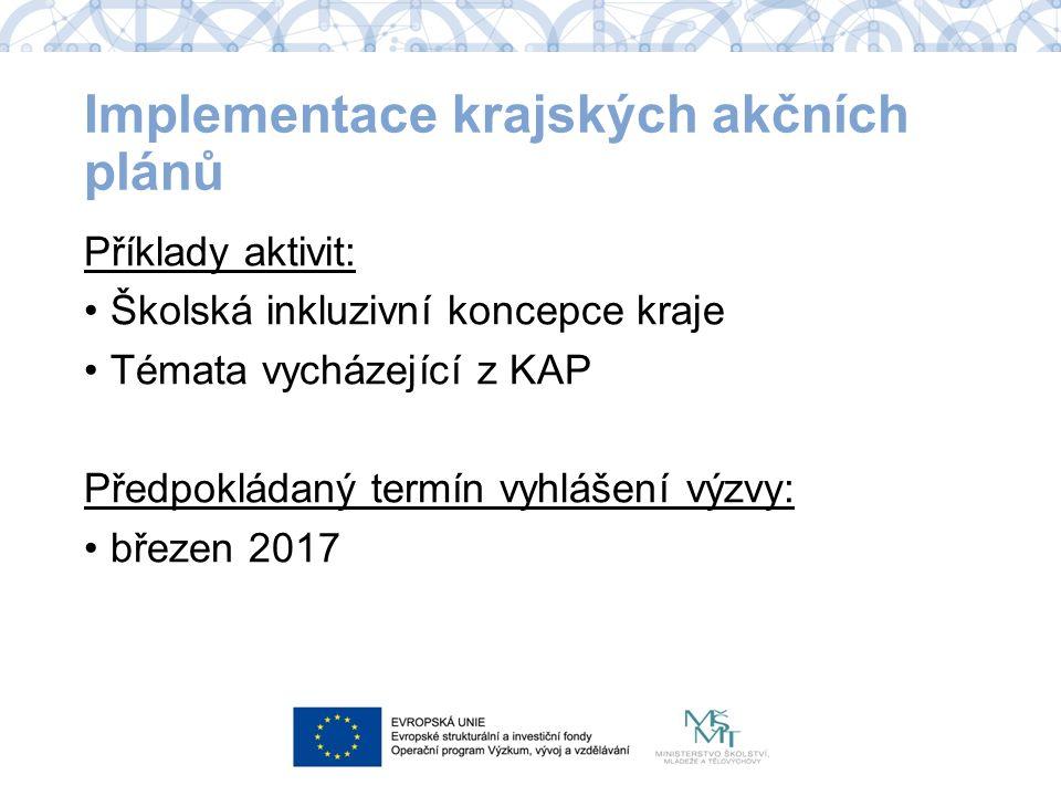 Příklady aktivit: Školská inkluzivní koncepce kraje Témata vycházející z KAP Předpokládaný termín vyhlášení výzvy: březen 2017 Implementace krajských akčních plánů