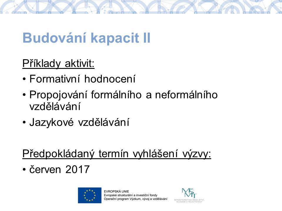 Budování kapacit II Příklady aktivit: Formativní hodnocení Propojování formálního a neformálního vzdělávání Jazykové vzdělávání Předpokládaný termín vyhlášení výzvy: červen 2017