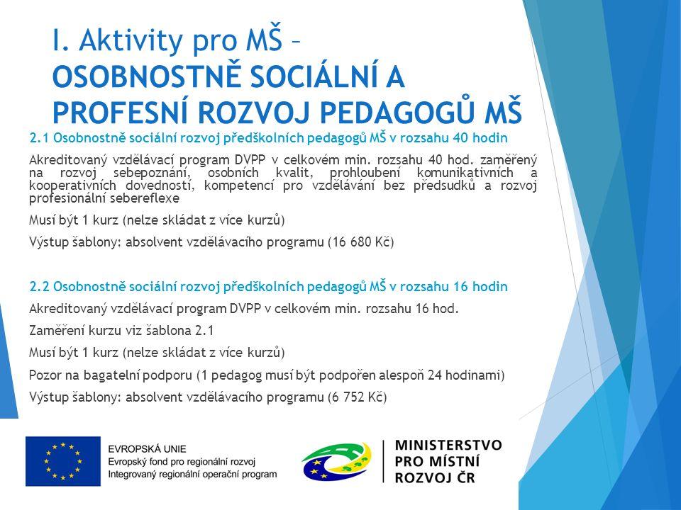 I. Aktivity pro MŠ – OSOBNOSTNĚ SOCIÁLNÍ A PROFESNÍ ROZVOJ PEDAGOGŮ MŠ 2.1 Osobnostně sociální rozvoj předškolních pedagogů MŠ v rozsahu 40 hodin Akre