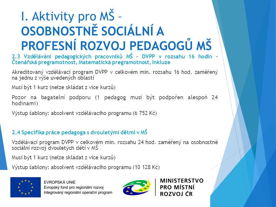 I. Aktivity pro MŠ – OSOBNOSTNĚ SOCIÁLNÍ A PROFESNÍ ROZVOJ PEDAGOGŮ MŠ 2.3 Vzdělávání pedagogických pracovníků MŠ – DVPP v rozsahu 16 hodin – Čtenářsk
