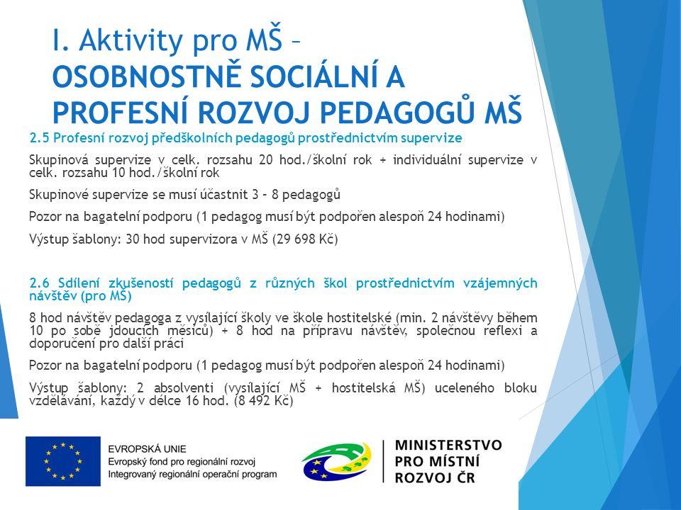 I. Aktivity pro MŠ – OSOBNOSTNĚ SOCIÁLNÍ A PROFESNÍ ROZVOJ PEDAGOGŮ MŠ 2.5 Profesní rozvoj předškolních pedagogů prostřednictvím supervize Skupinová s