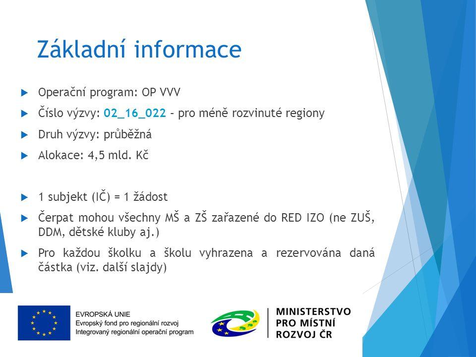 Základní informace  Operační program: OP VVV  Číslo výzvy: 02_16_022 – pro méně rozvinuté regiony  Druh výzvy: průběžná  Alokace: 4,5 mld.