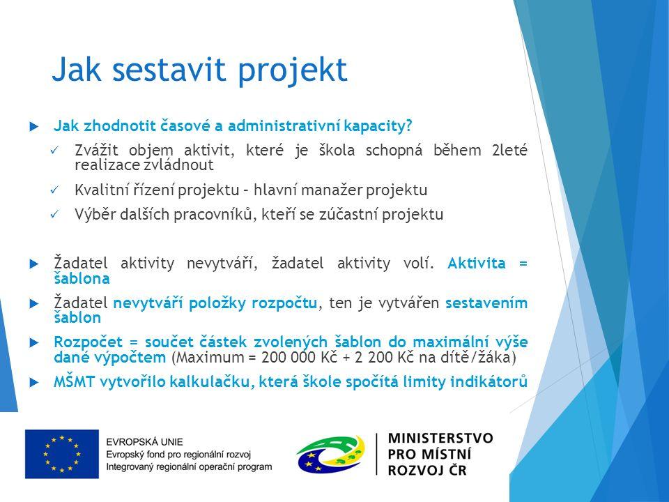 Jak sestavit projekt  Jak zhodnotit časové a administrativní kapacity.