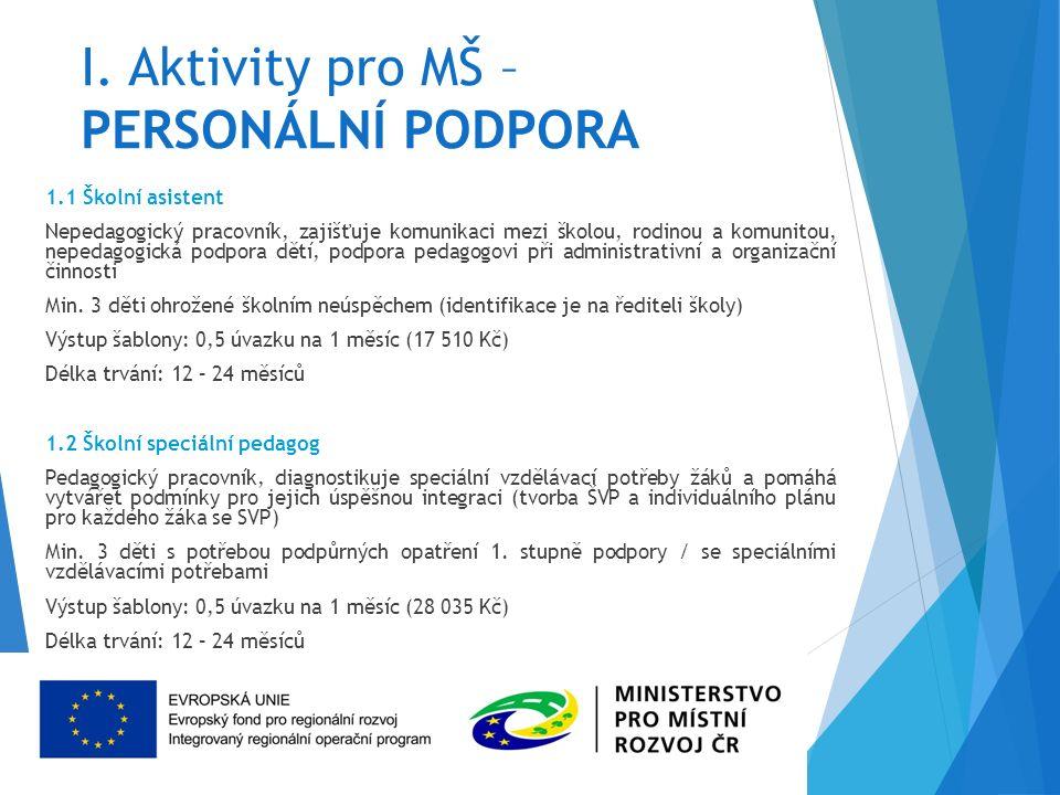 I. Aktivity pro MŠ – PERSONÁLNÍ PODPORA 1.1 Školní asistent Nepedagogický pracovník, zajišťuje komunikaci mezi školou, rodinou a komunitou, nepedagogi