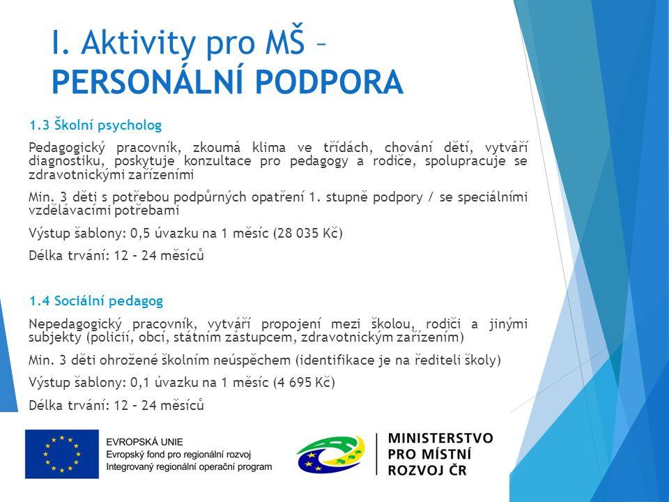 I. Aktivity pro MŠ – PERSONÁLNÍ PODPORA 1.3 Školní psycholog Pedagogický pracovník, zkoumá klima ve třídách, chování dětí, vytváří diagnostiku, poskyt