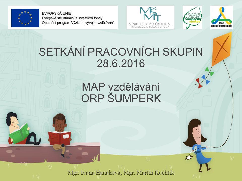SETKÁNÍ PRACOVNÍCH SKUPIN 28.6.2016 MAP vzdělávání ORP ŠUMPERK Mgr. Ivana Hanáková, Mgr. Martin Kuchtík
