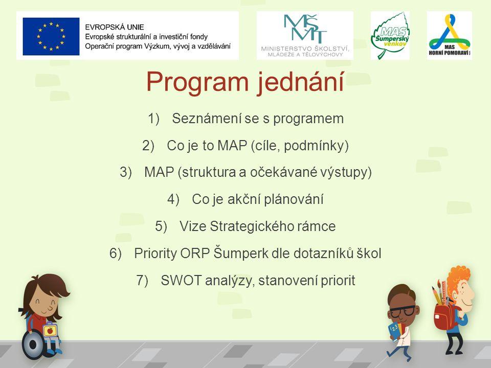 Program jednání 1)Seznámení se s programem 2)Co je to MAP (cíle, podmínky) 3)MAP (struktura a očekávané výstupy) 4)Co je akční plánování 5)Vize Strate