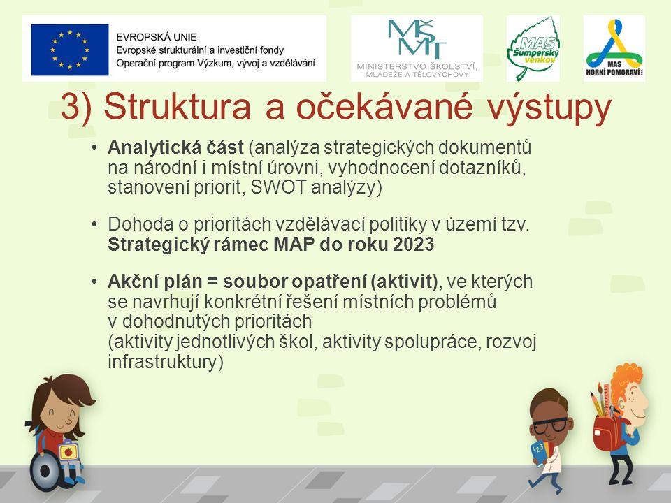 3) Struktura a očekávané výstupy Analytická část (analýza strategických dokumentů na národní i místní úrovni, vyhodnocení dotazníků, stanovení priorit
