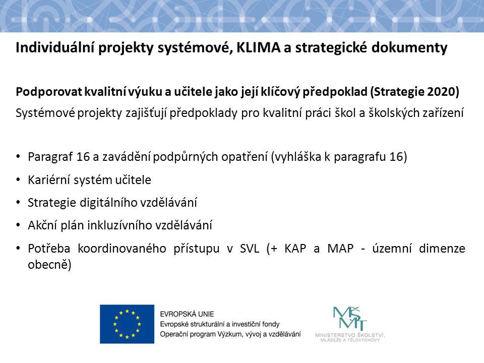 Individuální projekty systémové, KLIMA a strategické dokumenty Podporovat kvalitní výuku a učitele jako její klíčový předpoklad (Strategie 2020) Systémové projekty zajišťují předpoklady pro kvalitní práci škol a školských zařízení Paragraf 16 a zavádění podpůrných opatření (vyhláška k paragrafu 16) Kariérní systém učitele Strategie digitálního vzdělávání Akční plán inkluzívního vzdělávání Potřeba koordinovaného přístupu v SVL (+ KAP a MAP - územní dimenze obecně)