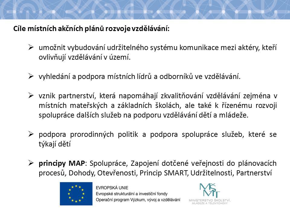 Cíle místních akčních plánů rozvoje vzdělávání:  umožnit vybudování udržitelného systému komunikace mezi aktéry, kteří ovlivňují vzdělávání v území.