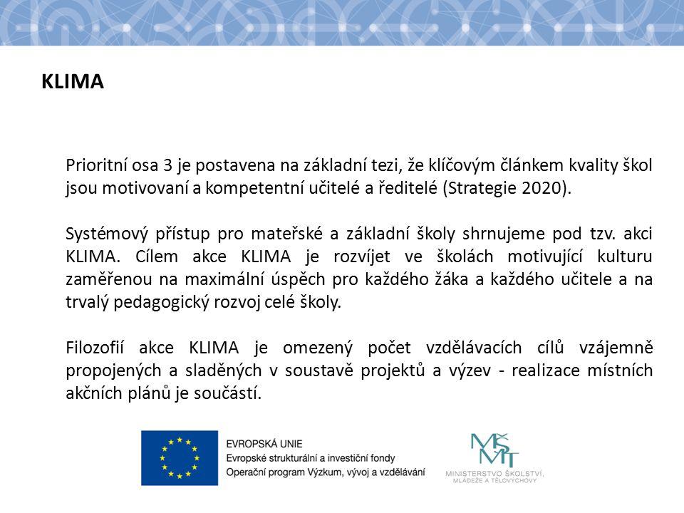 KLIMA Prioritní osa 3 je postavena na základní tezi, že klíčovým článkem kvality škol jsou motivovaní a kompetentní učitelé a ředitelé (Strategie 2020).