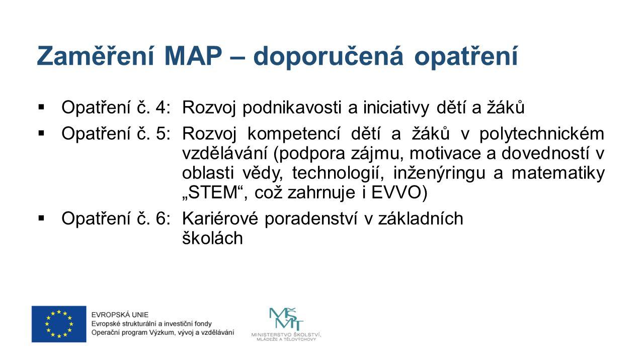 Zaměření MAP – doporučená opatření  Opatření č.