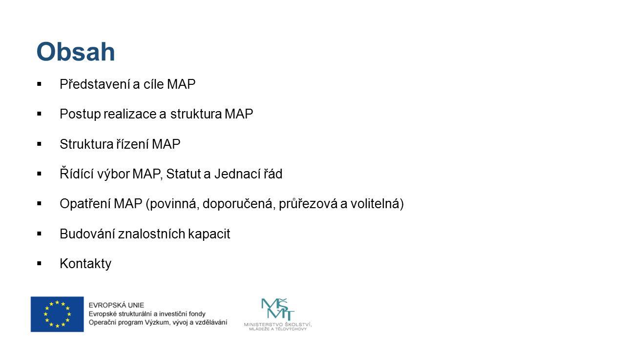 Obsah  Představení a cíle MAP  Postup realizace a struktura MAP  Struktura řízení MAP  Řídící výbor MAP, Statut a Jednací řád  Opatření MAP (povinná, doporučená, průřezová a volitelná)  Budování znalostních kapacit  Kontakty