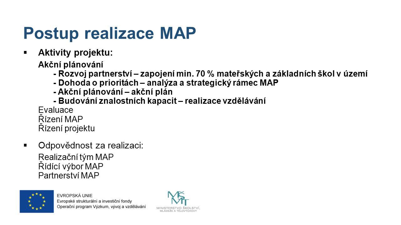 Struktura dokumentu MAP 1.Analytická část 2.Strategický rámec MAP 3.Opatření Každé opatření bude zpracováno v následující struktuře: Odůvodnění výběru opatření na základě místní analýzy o Cíl opatření: čeho chceme dosáhnout v tomto opatření o Popis cíle o Popis kroků k naplnění cíle – tři typy aktivit -Aktivity jednotlivých škol – aktivity na podporu vzdělávání žáků a učitelů se plánují na úrovni škol -Aktivity spolupráce – plnění opatření např.