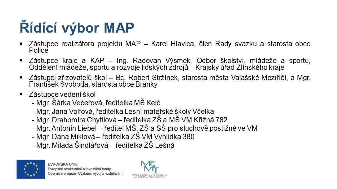 Řídící výbor MAP  Zástupce realizátora projektu MAP – Karel Hlavica, člen Rady svazku a starosta obce Police  Zástupce kraje a KAP – Ing.