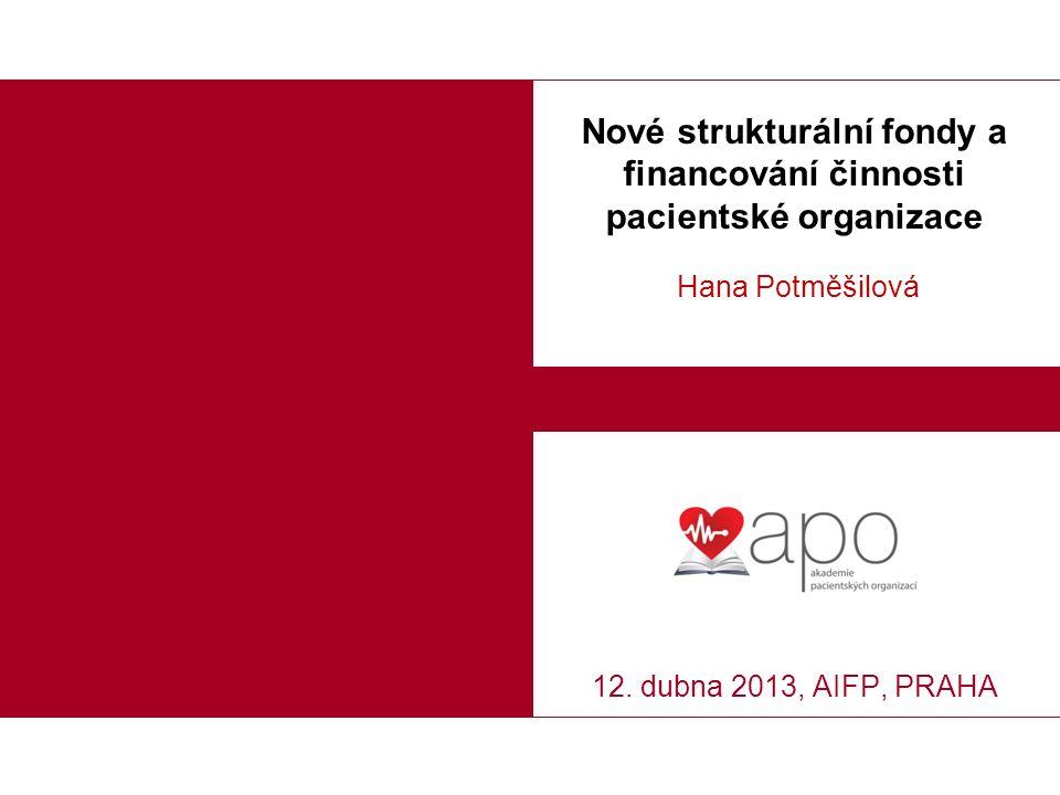 Nové strukturální fondy a financování činnosti pacientské organizace Hana Potměšilová 12.