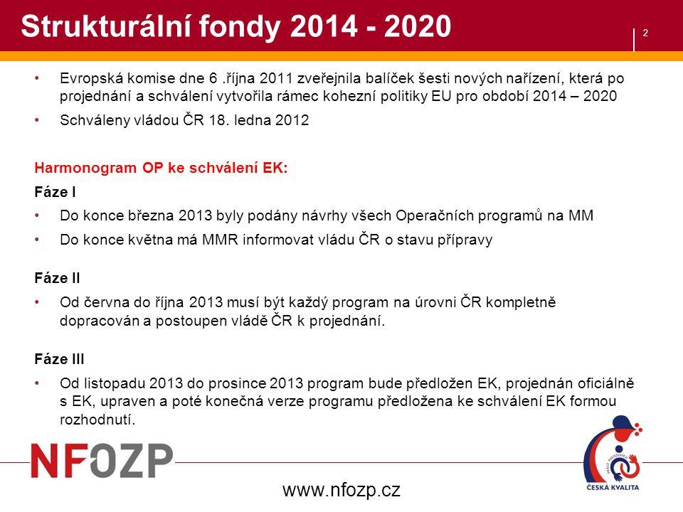 2 Strukturální fondy 2014 - 2020 Evropská komise dne 6.října 2011 zveřejnila balíček šesti nových nařízení, která po projednání a schválení vytvořila rámec kohezní politiky EU pro období 2014 – 2020 Schváleny vládou ČR 18.