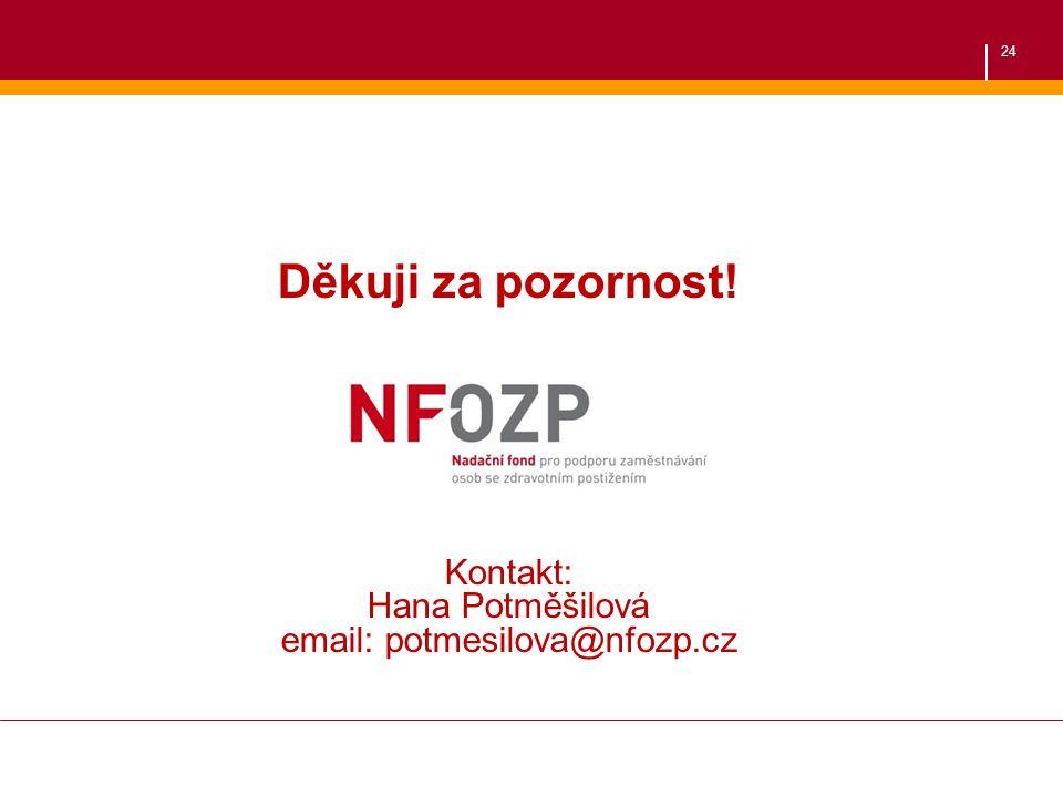 24 Děkuji za pozornost. Kontakt: Hana Potměšilová email: potmesilova@nfozp.cz Děkuji za pozornost.