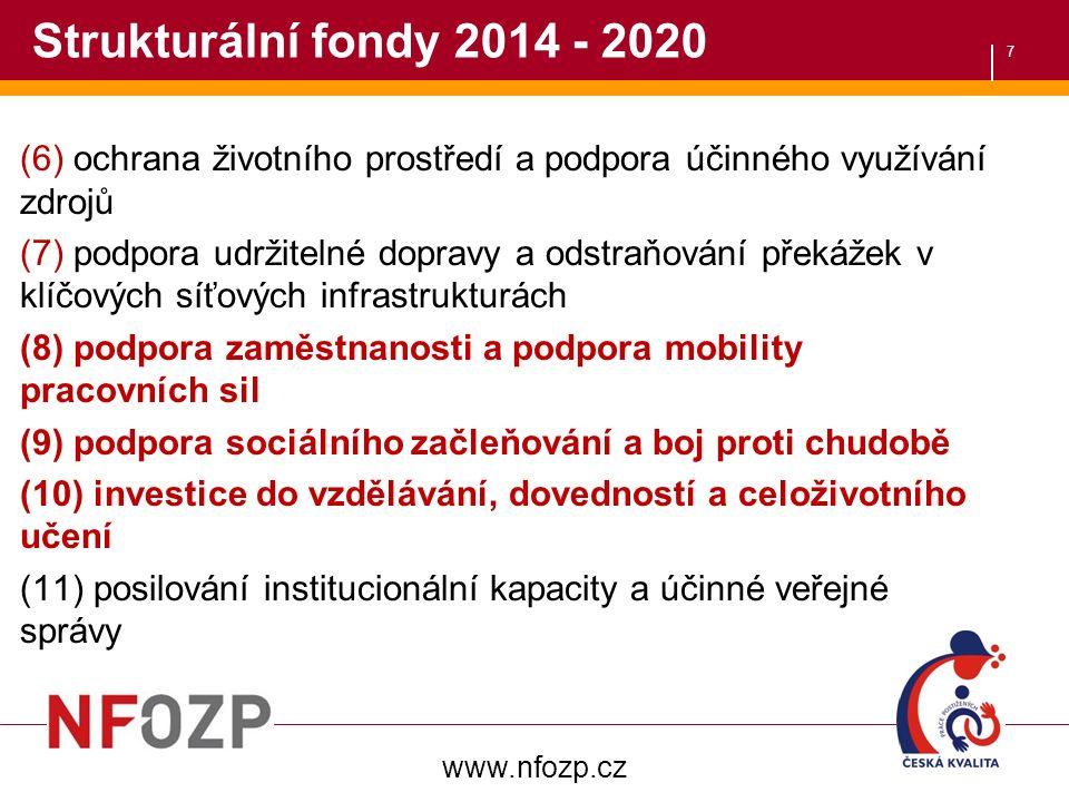 7 Strukturální fondy 2014 - 2020 (6) ochrana životního prostředí a podpora účinného využívání zdrojů (7) podpora udržitelné dopravy a odstraňování překážek v klíčových síťových infrastrukturách (8) podpora zaměstnanosti a podpora mobility pracovních sil (9) podpora sociálního začleňování a boj proti chudobě (10) investice do vzdělávání, dovedností a celoživotního učení (11) posilování institucionální kapacity a účinné veřejné správy www.nfozp.cz