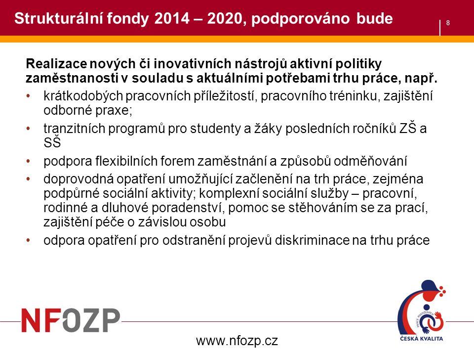 8 Strukturální fondy 2014 – 2020, podporováno bude Realizace nových či inovativních nástrojů aktivní politiky zaměstnanosti v souladu s aktuálními potřebami trhu práce, např.