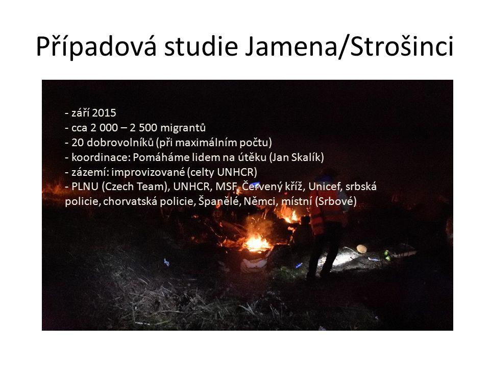 Případová studie Jamena/Strošinci - září 2015 - cca 2 000 – 2 500 migrantů - 20 dobrovolníků (při maximálním počtu) - koordinace: Pomáháme lidem na útěku (Jan Skalík) - zázemí: improvizované (celty UNHCR) - PLNU (Czech Team), UNHCR, MSF, Červený kříž, Unicef, srbská policie, chorvatská policie, Španělé, Němci, místní (Srbové)