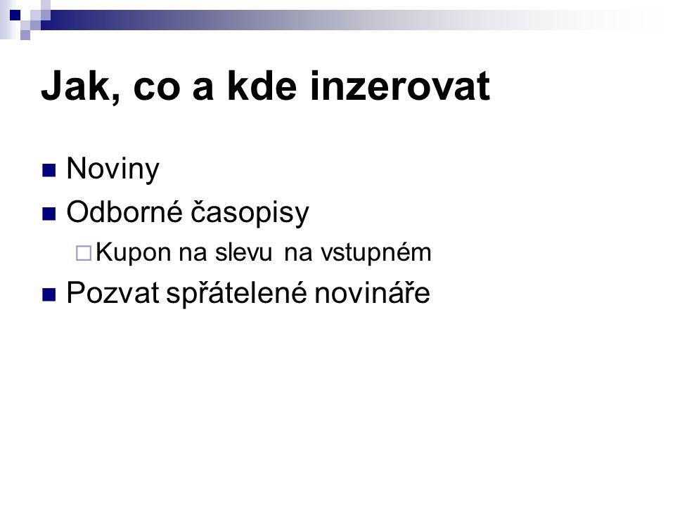 Jak, co a kde inzerovat Noviny Odborné časopisy  Kupon na slevu na vstupném Pozvat spřátelené novináře
