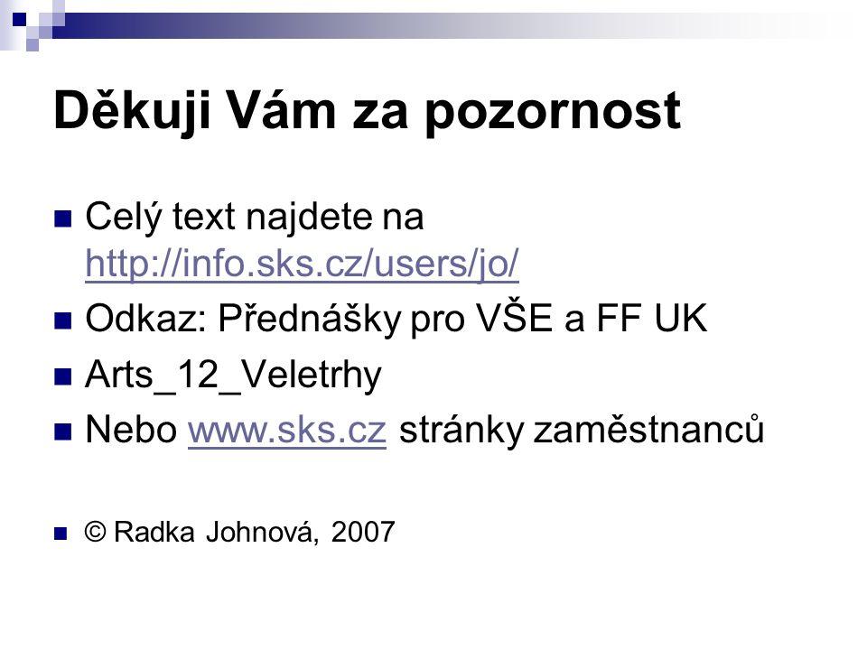 Děkuji Vám za pozornost Celý text najdete na http://info.sks.cz/users/jo/ http://info.sks.cz/users/jo/ Odkaz: Přednášky pro VŠE a FF UK Arts_12_Veletr