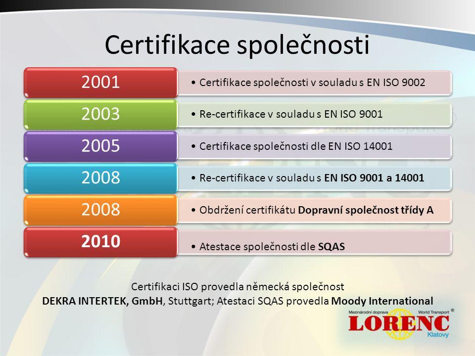 Certifikace společnosti Certifikace společnosti v souladu s EN ISO 9002 2001 Re-certifikace v souladu s EN ISO 9001 2003 Certifikace společnosti dle EN ISO 14001 2005 Re-certifikace v souladu s EN ISO 9001 a 14001 2008 Obdržení certifikátu Dopravní společnost třídy A 2008 Atestace společnosti dle SQAS 2010 Certifikaci ISO provedla německá společnost DEKRA INTERTEK, GmbH, Stuttgart; Atestaci SQAS provedla Moody International