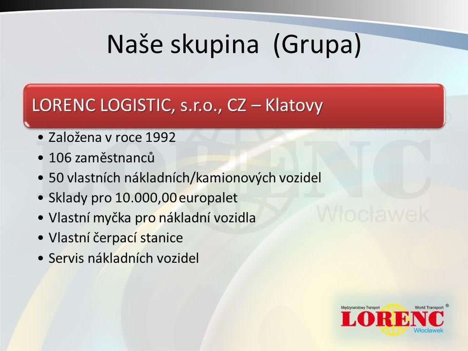 Naše skupina (Grupa) LORENC LOGISTIC, s.r.o., CZ – Klatovy Založena v roce 1992 106 zaměstnanců 50 vlastních nákladních/kamionových vozidel Sklady pro 10.000,00 europalet Vlastní myčka pro nákladní vozidla Vlastní čerpací stanice Servis nákladních vozidel