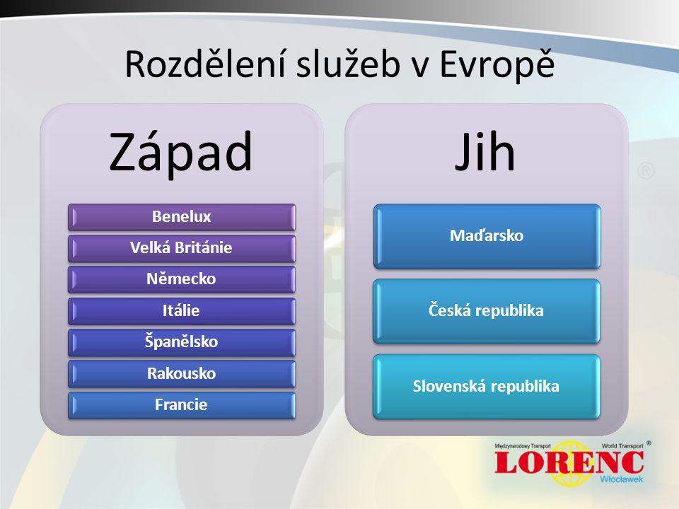 Rozdělení služeb v Evropě Západ BeneluxVelká BritánieNěmeckoItálieŠpanělskoRakouskoFrancie Jih MaďarskoČeská republikaSlovenská republika