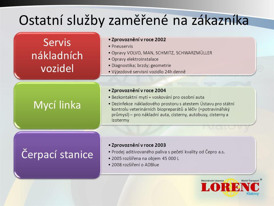 Zprovoznění v roce 2002 Pneuservis Opravy VOLVO, MAN, SCHMITZ, SCHWARZMÜLLER Opravy elektroinstalace Diagnostika; brzdy; geometrie Výjezdové servisní